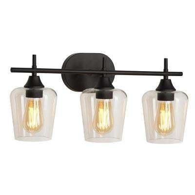 7.5 in. 3-Light Bronze Vanity Light with Clear Glass Shade
