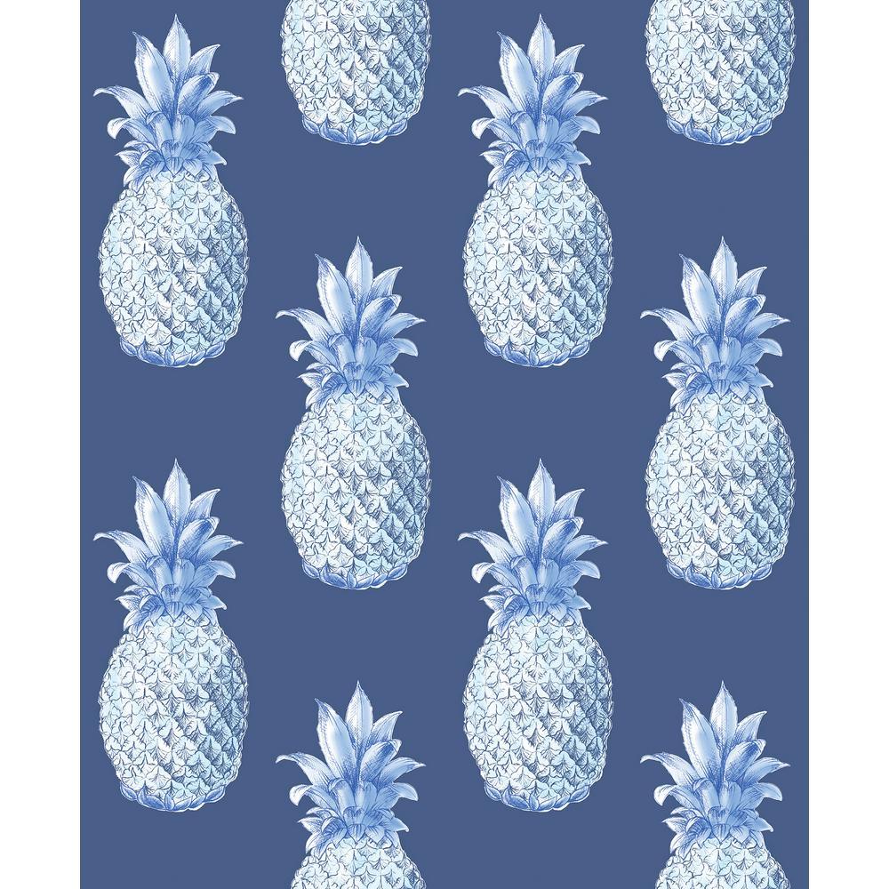 56.4 sq. ft. Copacabana Navy Pineapple Wallpaper