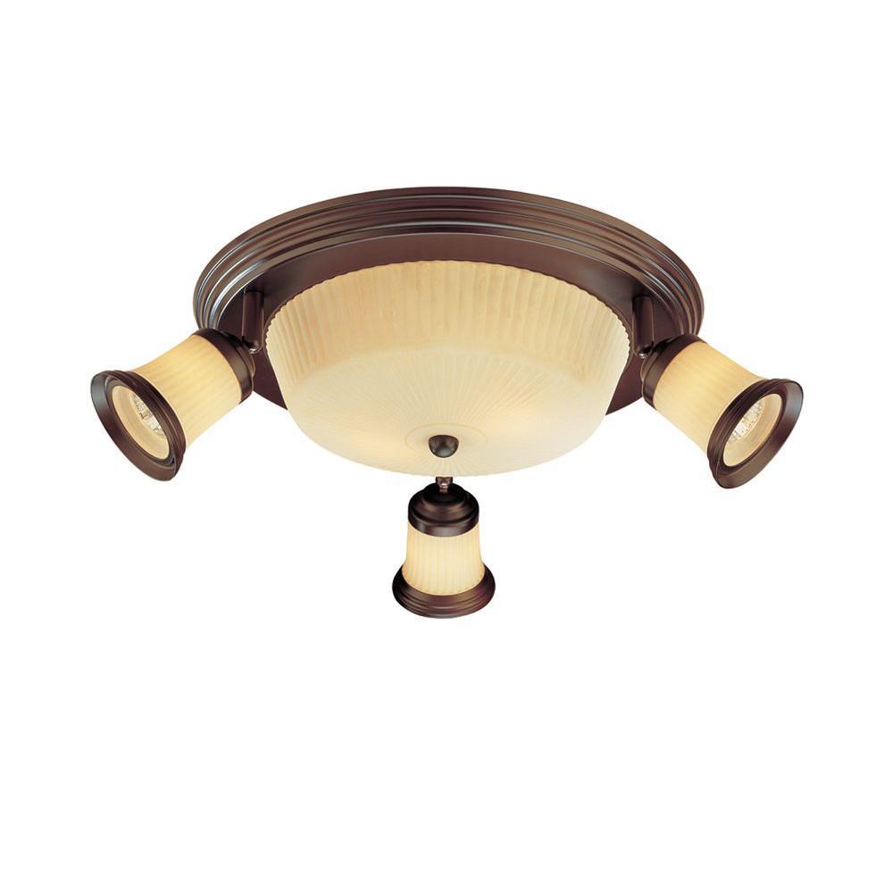 4-Light Antique Bronze Semi-Flush Mount Ceiling Track Lighting Fixture