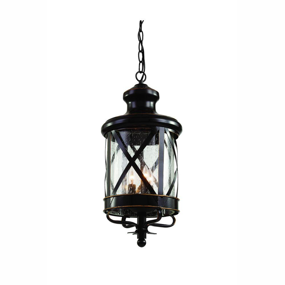 Bel Air Lighting Carriage House 3-Light Outdoor Oiled Rubbed Bronze Hanging Lantern with Seeded Glass