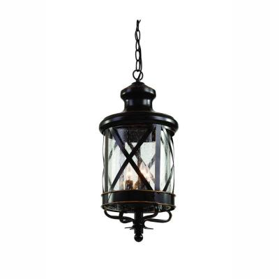 Carriage House 3-Light Outdoor Oiled Rubbed Bronze Hanging Lantern with Seeded Glass