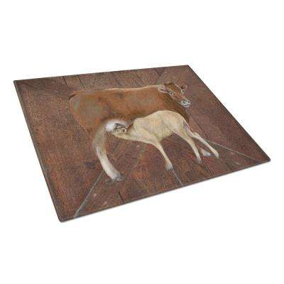 Cow Momma and Baby Tempered Glass Large Cutting Board