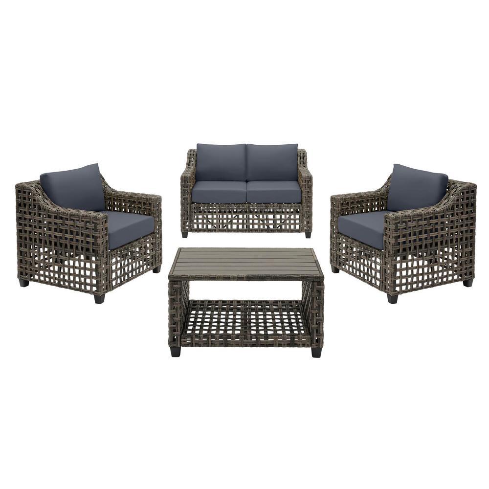 Briar Ridge 4-Piece Brown Wicker Outdoor Patio Conversation Deep Seating Set with CushionGuard Sky Blue Cushions