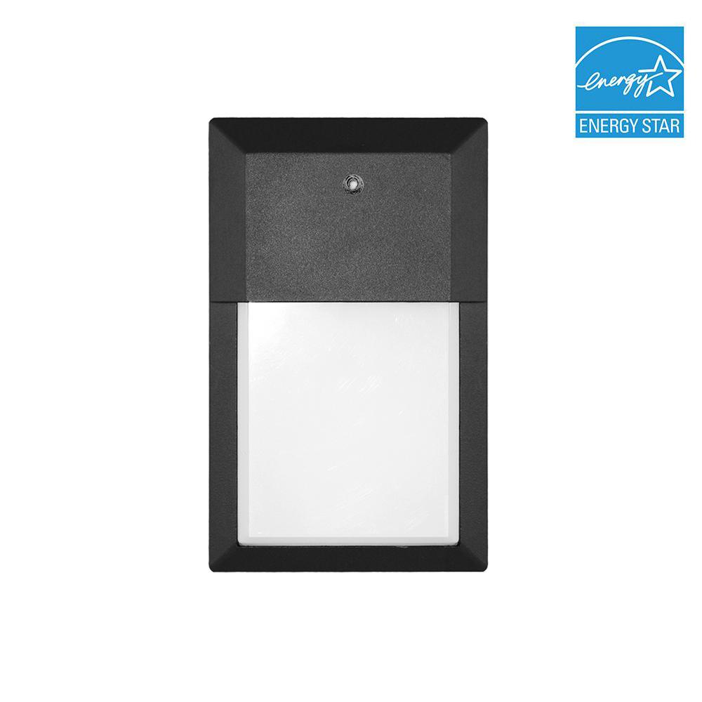 12-Watt Black Outdoor Integrated LED Mini Wall Pack Light in Soft
