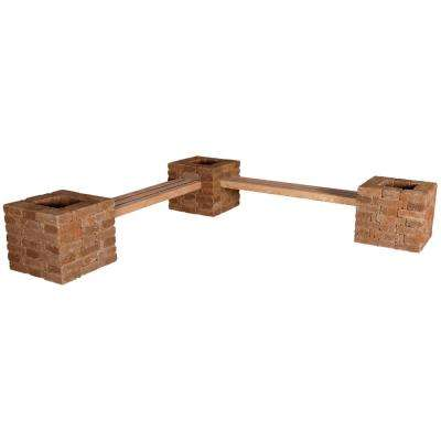 RumbleStone 114 in. x 24.5 in. x 17.5 in. Concrete Garden Bench/Planter Kit in Sierra Blend
