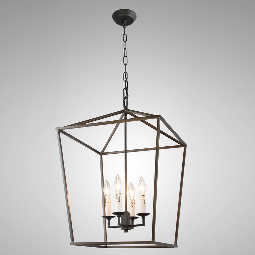 Y Decor Candle-Style 4-Light Antique Iron Frame Chandelier-LZ1192 ...