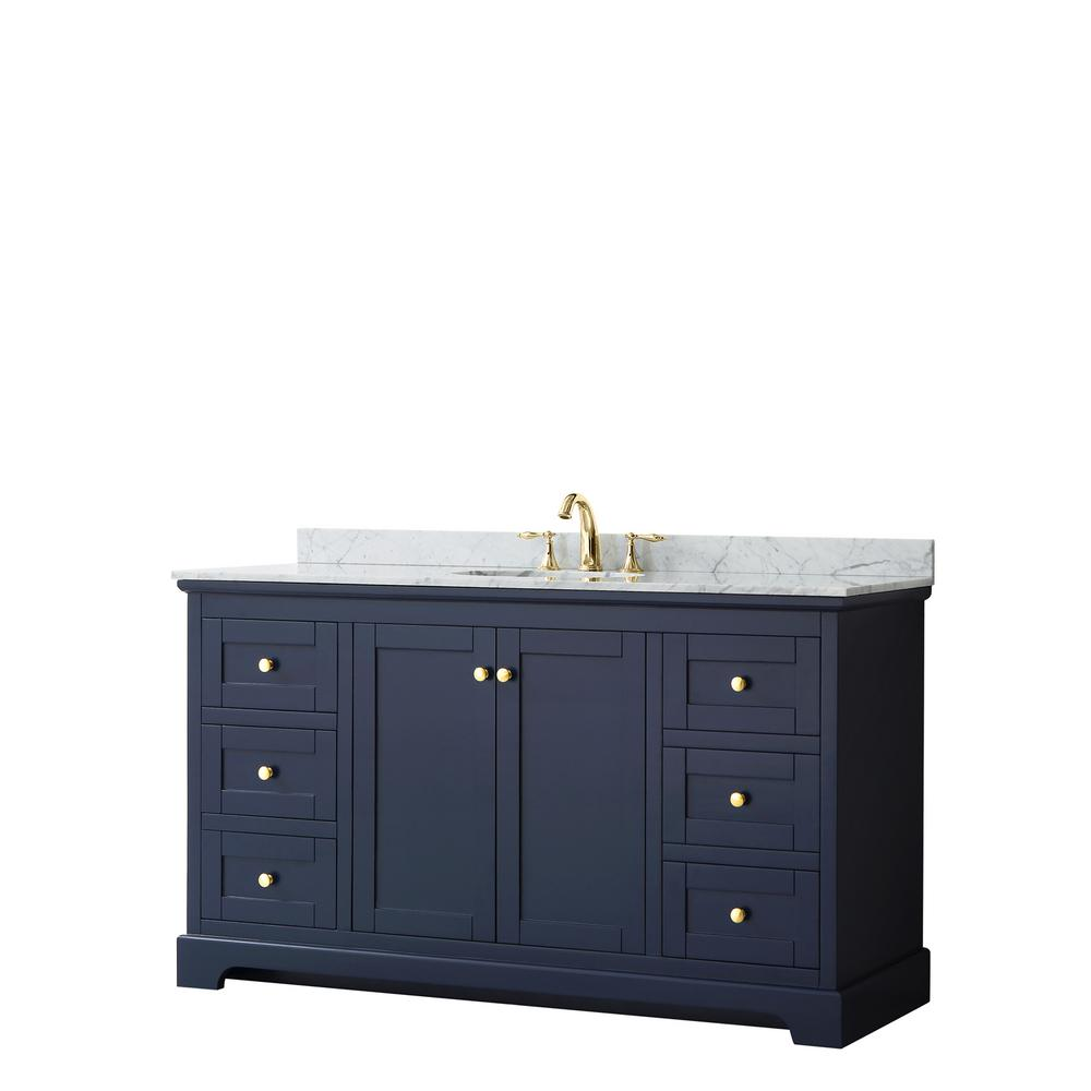 Wyndham Collection Avery 60 in. W x 22 in. D Bathroom Vanity in Dark Blue with Marble Vanity Top in White Carrara with White Basin