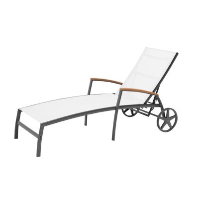 Baymont Aluminum Sling Patio Chaise Lounge in White