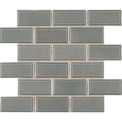 Donna Teal Beveled 11 in. x 12 in. x 6mm Glazed Ceramic Mesh-Mounted Mosaic Tile (0.89 sq. ft.)