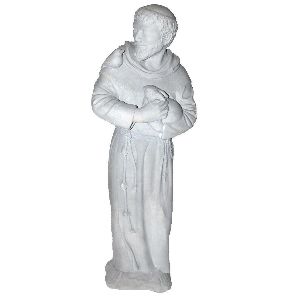 Stoneworks Cast Stone St. Francis Garden Statue Antique Gray
