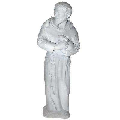Cast Stone St. Francis Garden Statue Antique Gray
