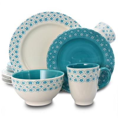 General Store 16-Piece Cottage Chic Ceramic Dinnerware Set