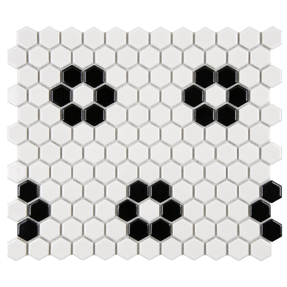Merola Tile Metro Hex Glossy White with Heavy Flower 10-1/4 in. x 11 ...