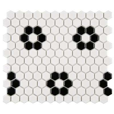 Metro Hex Glossy White with Heavy Flower 10-1/4 in. x 11-3/4 in. x 5 mm Porcelain Mosaic Tile (8.54 sq. ft. / case)