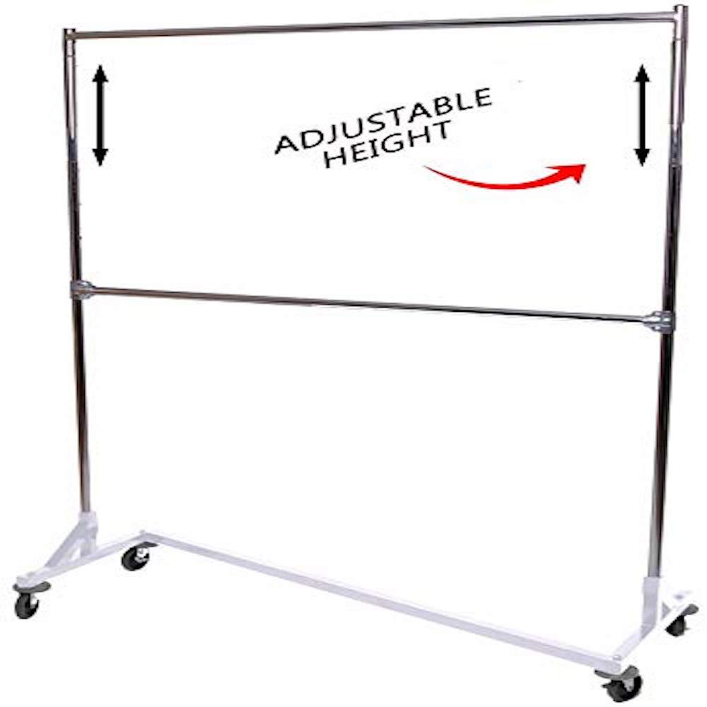 Industrial Strength Decorative White Base Z Rack with Add-On Hangrail and Built-in Height Extensions