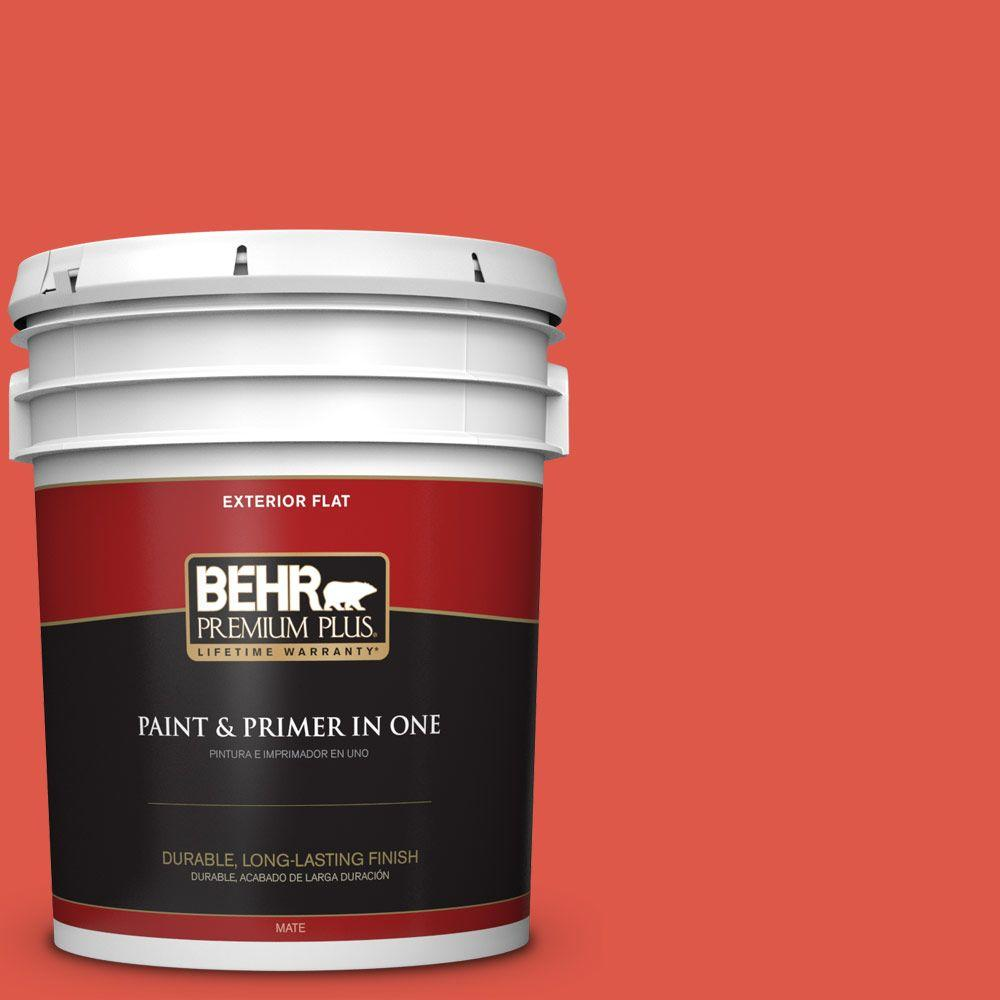 BEHR Premium Plus 5-gal. #180B-6 Fiery Red Flat Exterior Paint