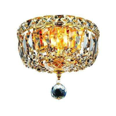 2-Light Gold Flushmount with Clear Crystal
