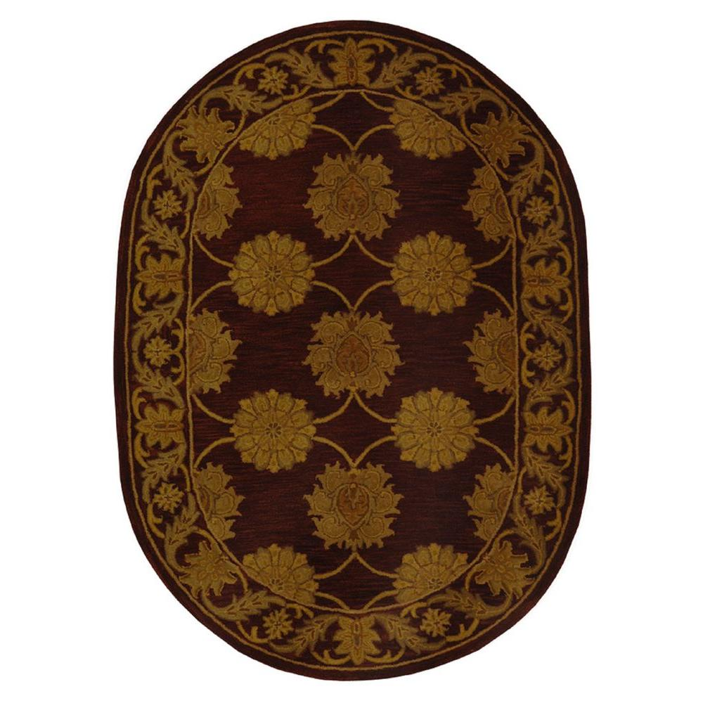 oblong hair styles safavieh heritage maroon 4 ft 6 in x 6 ft 6 in oval 7170