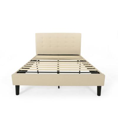 Agnew Contemporary Modern Queen-Size Beige Fully Upholstered Platform Bed Frame with Button Tufting