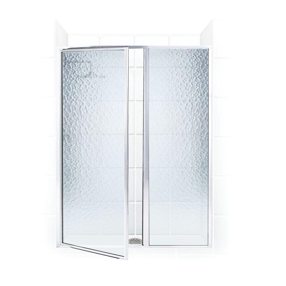 Coastal Shower Doors Legend Series 42 in. x 69 in. Framed Hinge Swing Shower Door with Inline Panel in Platinum with Obscure Glass