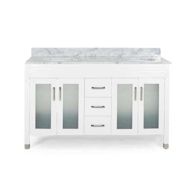 Halston 60 in. W x 22 in. D Bath Vanity with Carrara Marble Vanity Top in White with White Basin