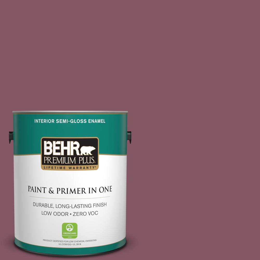 BEHR Premium Plus 1-gal. #100D-6 Rose Garland Zero VOC Semi-Gloss Enamel Interior Paint
