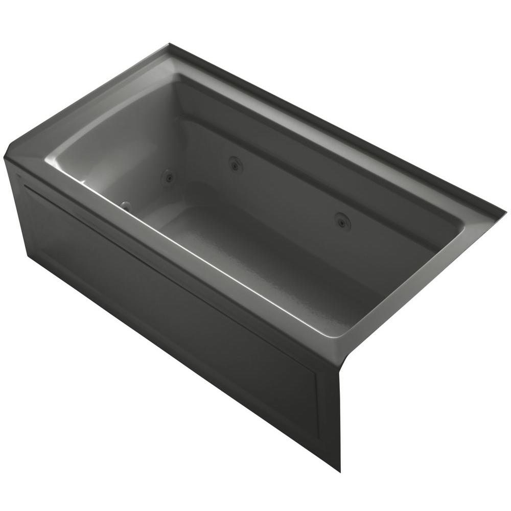 KOHLER Archer 5 ft. Acrylic Right Drain Rectangular Alcove Whirlpool Bathtub in Thunder Grey
