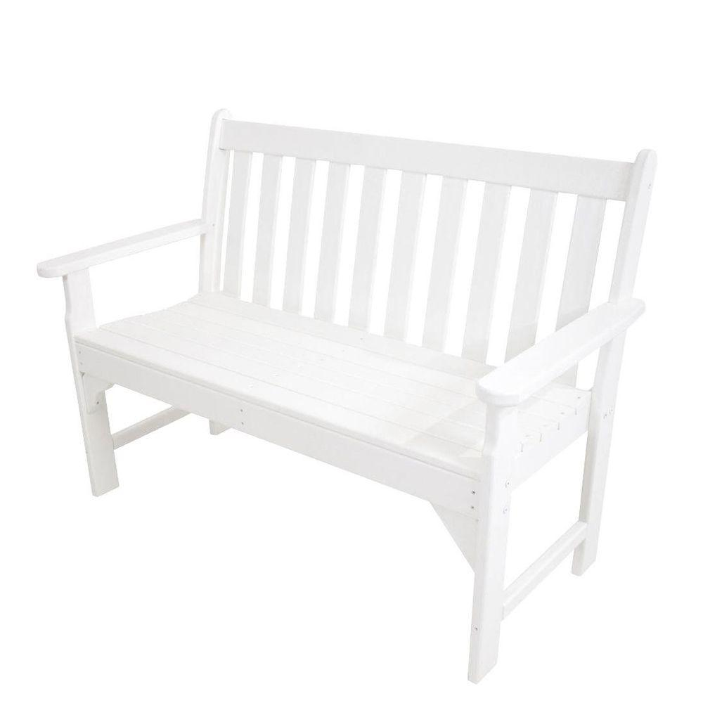 POLYWOOD Vineyard 48 in. White Patio Bench