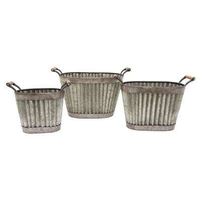 19.25 in. x 11 in. Planters in Gray (Set of 3)
