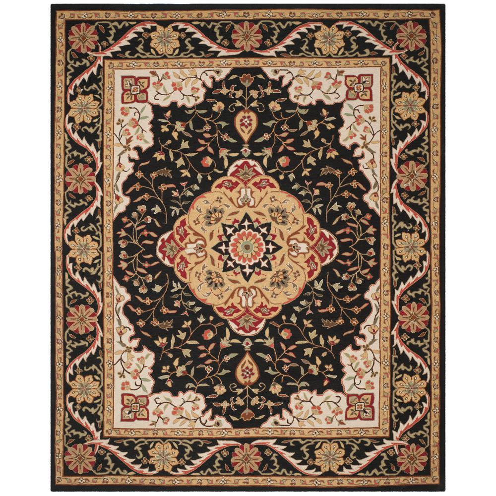 Safavieh easy care black cream 8 ft x 10 ft area rug for Easy rugs