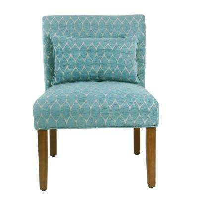Modern Geo Textured Teal Parker Accent Chair with Pillow