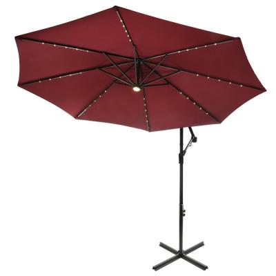10 ft. Cantilever Umbrella with Solar Power LED Lights in Red