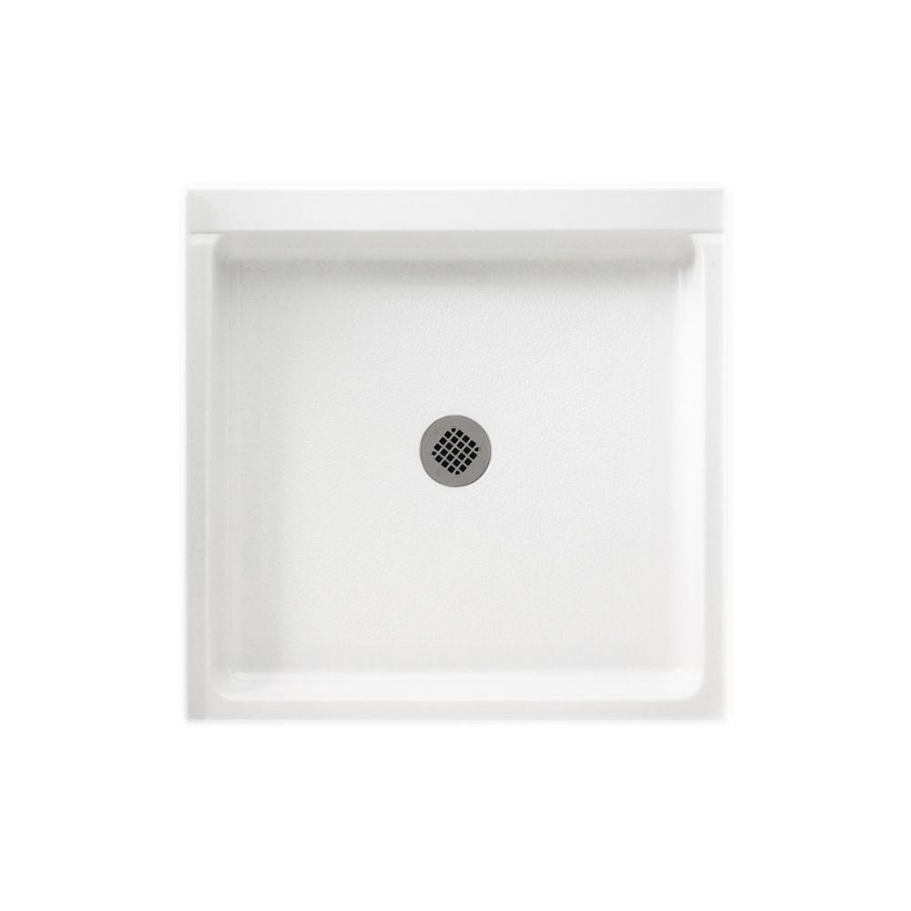 Solid Surface Single Threshold Shower Pan In White