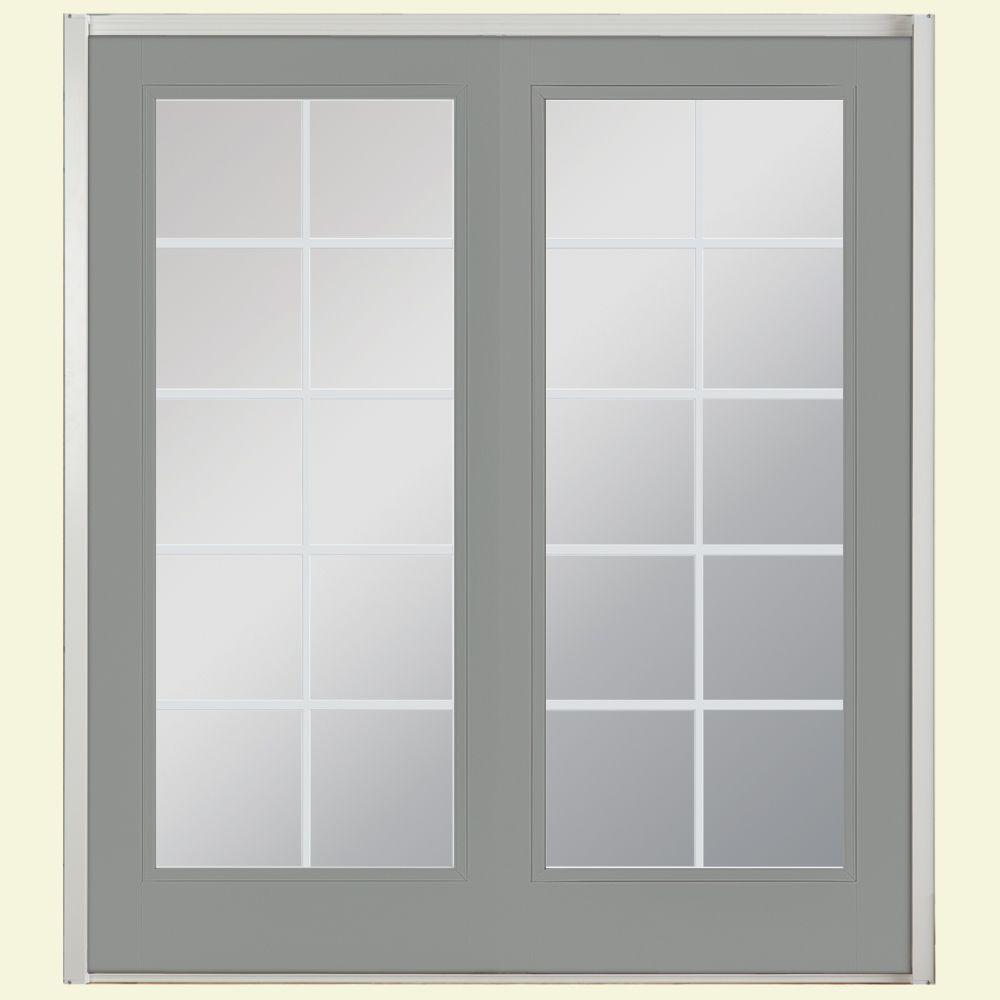 72 in. x 80 in. Silver Cloud Prehung Right-Hand Inswing 10 Lite Fiberglass Patio Door with No Brickmold in Vinyl Frame