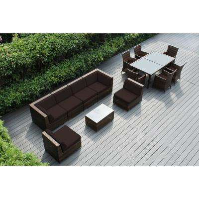 Mixed Brown 14-Piece Wicker Patio Combo Conversation Set with Spuncrylic Brown Cushions