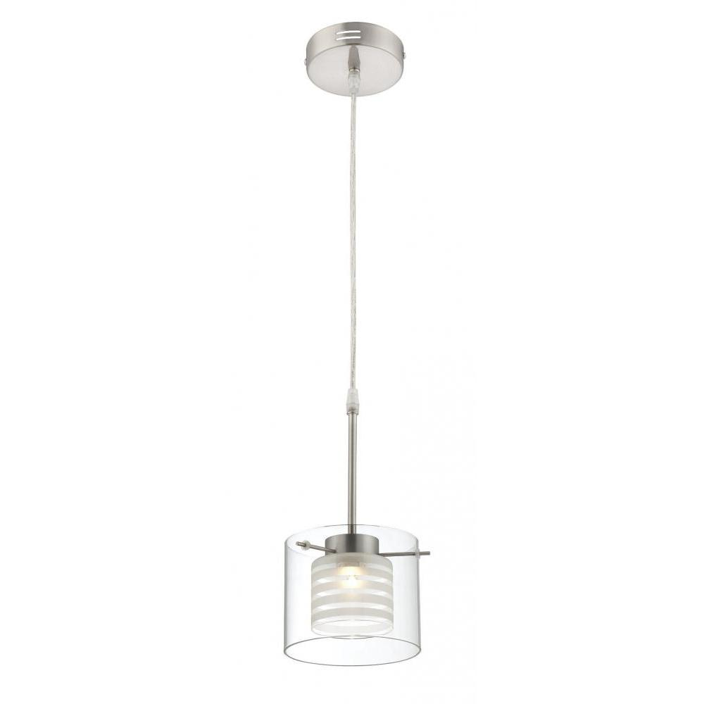1-Light Polished Steel Pendant