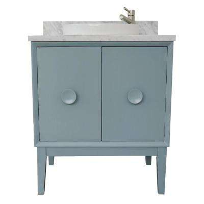 Stora 31 in. W x 22 in. D Bath Vanity in Aqua Blue with Marble Vanity Top in White with White Round Basin