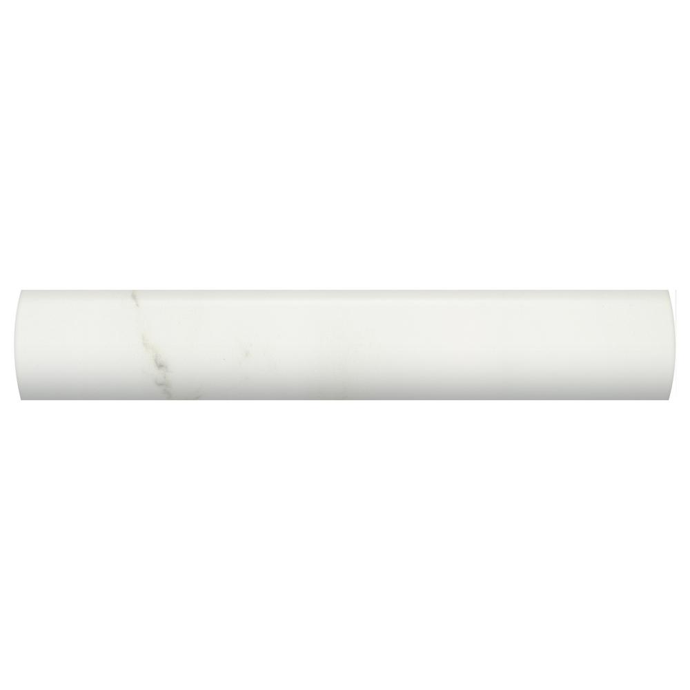 1x6 tile trim tile the home depot developed by nature calacatta 1 in x 6 in glazed ceramic wall quarter round dailygadgetfo Images