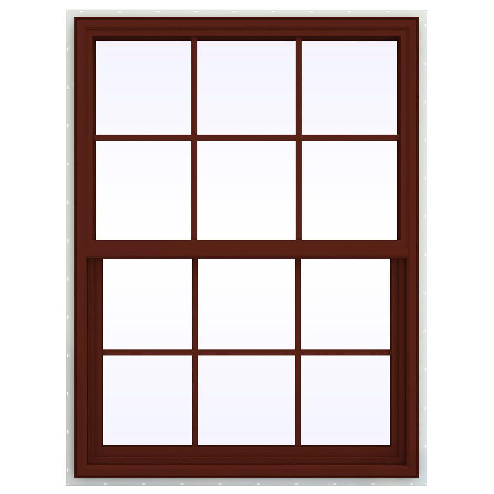 JELD-WEN 35.5 in. x 41.5 in. V-4500 Series Single Hung Vinyl Window with Grids - Red