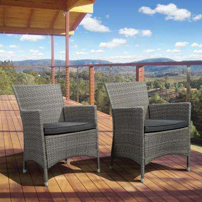 Liberty Deluxe Gray Wicker Patio Armchair with Gray Cushions (Set of 2)