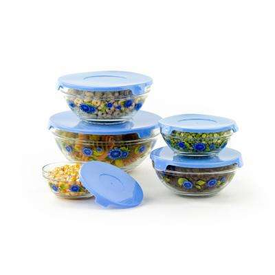 10-Piece Blue Sunflower Glass Food Storage Bowls Set