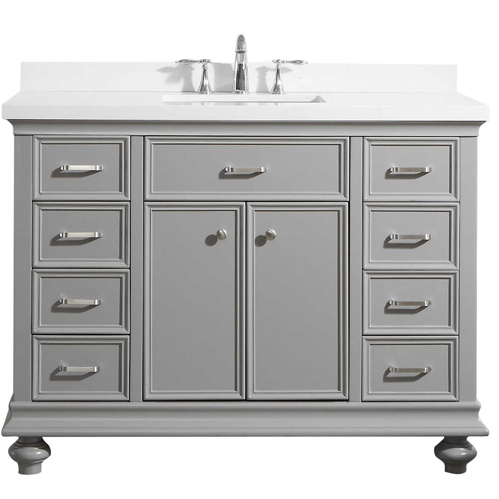 ROSWELL Charlotte 48 in. W x 22 in. D x 36 in. H Vanity in Grey with Quartz Vanity Top in White with White Basin
