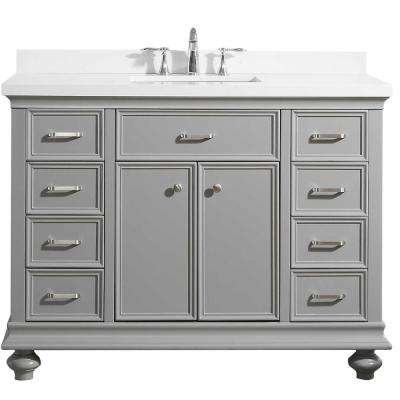 Charlotte 48 in. W x 22 in. D x 36 in. H Vanity in Grey with Quartz Vanity Top in White with White Basin