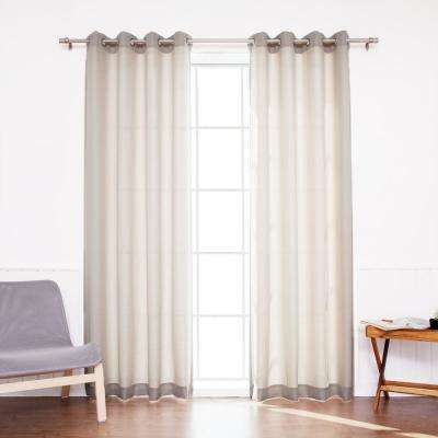 Outdoor Oxford 84 in. L Polyester Drapery Panel in Beige (2-Pack)