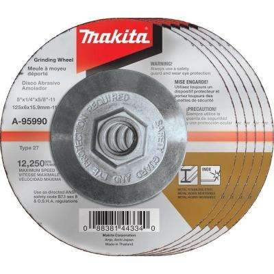 5 in. x 1/4 in. x 5/8 in. 36-Grit INOX Grinding Wheel (5-Pack)