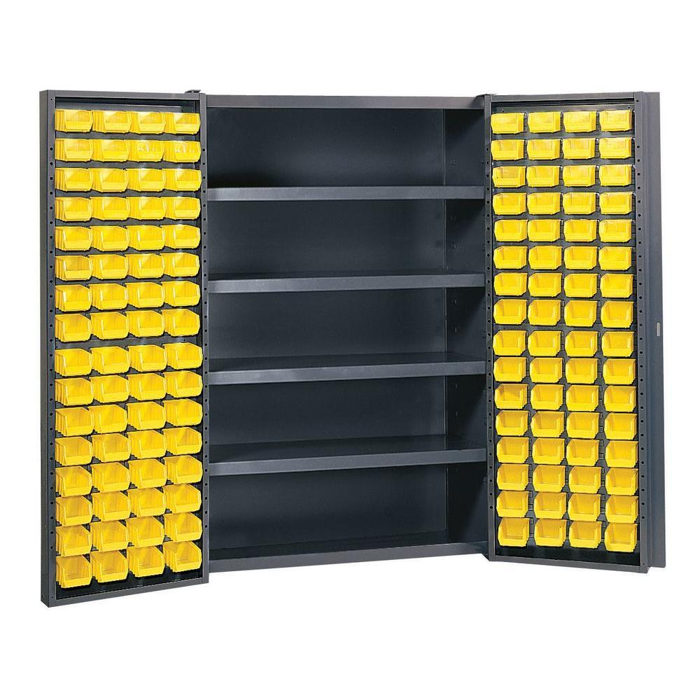 72 in. H x 48 in.W x 24 in. D 5-Shelf Welded Steel Freestanding Storage Cabinet with 128 Bins