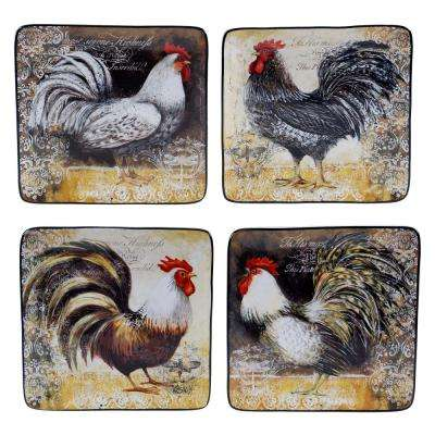 Vintage Rooster Collection Rustic Salad and Dessert Plate (Set of 4)