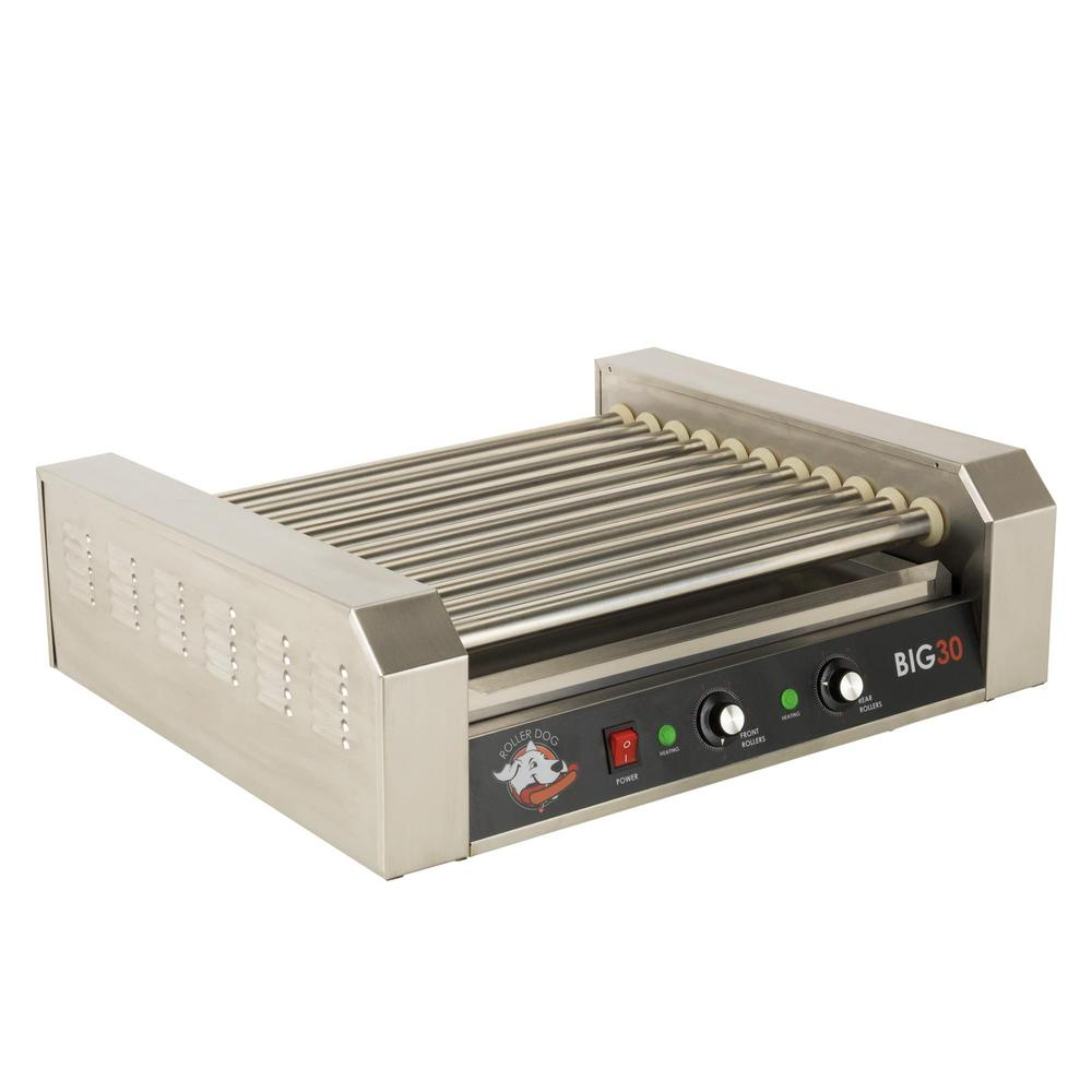 306 sq. in. Stainless Steel Hot Dog Roller Grill