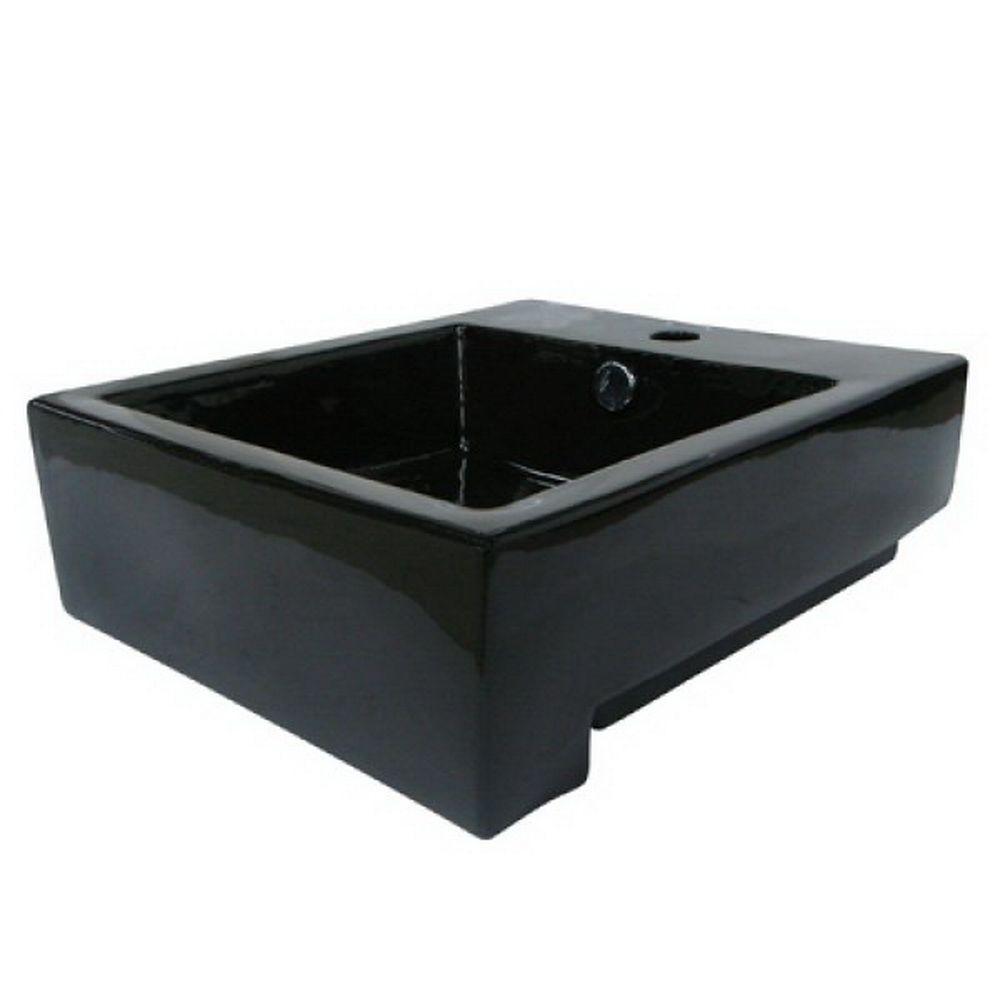 Kingston Brass 4 1 4 In Console Sink Basin In Black Hev4076k The Home Depot