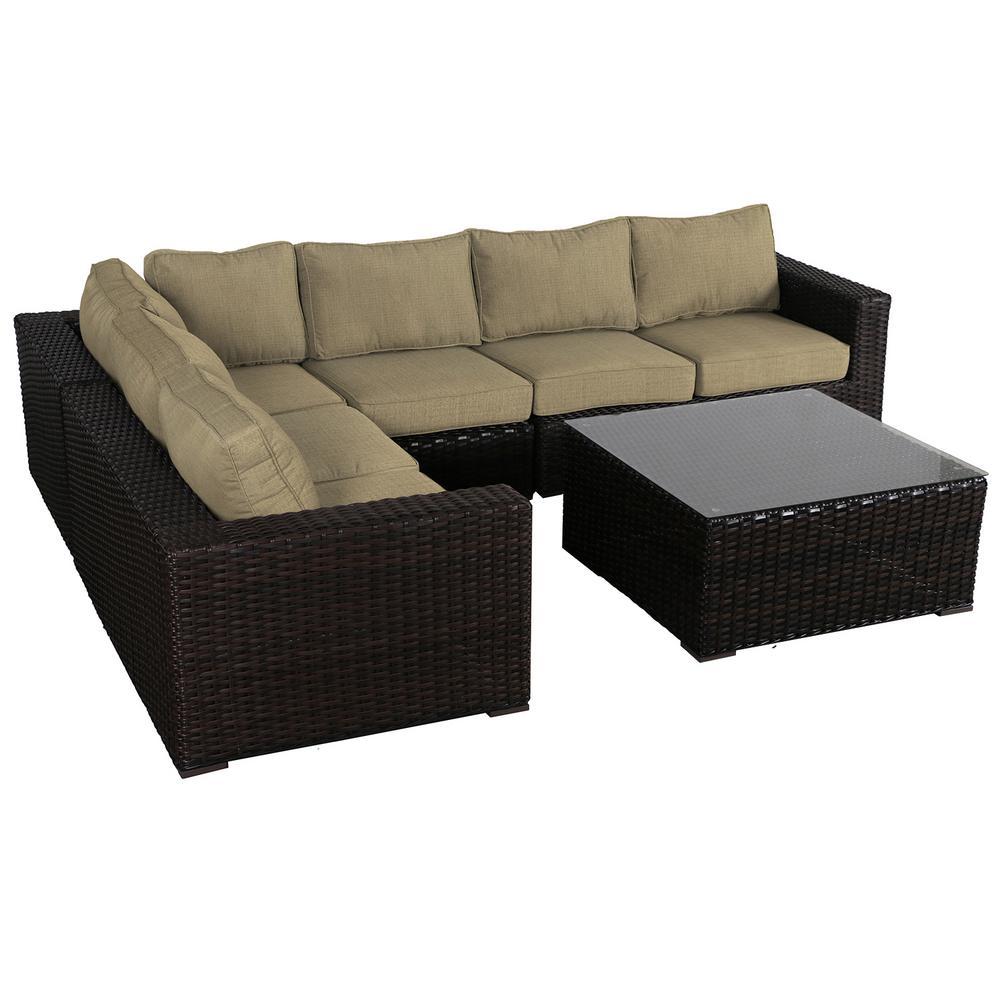 Santa Monica 5-Piece Wicker Patio Sectional Seating Set with Sunbrella Brass Cushions